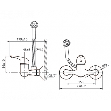 Смеситель для душевой кабины NEXT с шлангом и лейкой MB