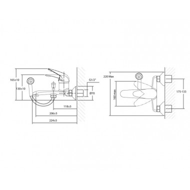 Локтевой смеситель для ванны с удлиненным изливом