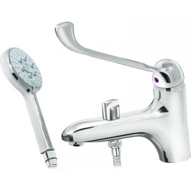 Врезной локтевой медицинский смеситель на акриловую ванну