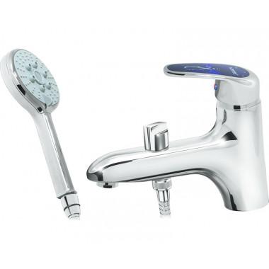 Врезной смеситель на борт ванны Karat синий