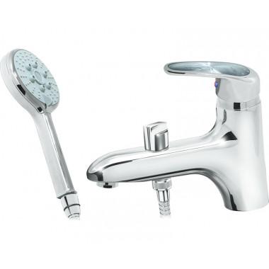 Врезной смеситель на борт ванны Karat серебро