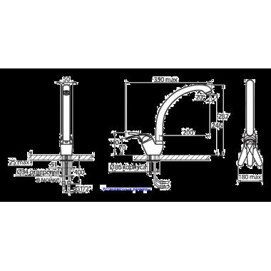 Смеситель для кухни с изливом MAXI Karat серебро