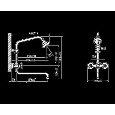 Душевая система с жесткой стойкой и изливом Бета