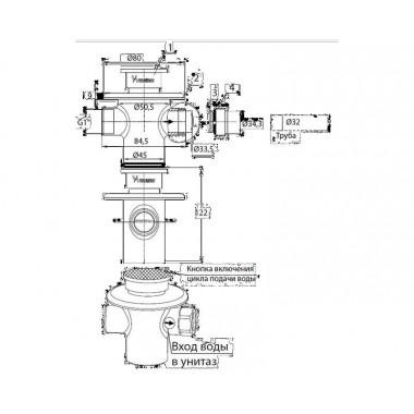 Кран антивандальный для чаши генуя напольный нажимной