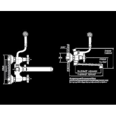 Смеситель для ванны VarioFin плоский излив Кросс